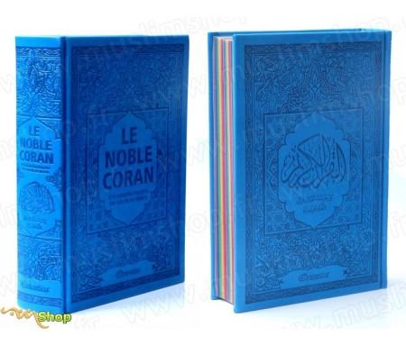 Le Noble Coran avec pages en couleur Arc-en-ciel (Rainbow) - Bilingue (français/arabe) - Couverture Daim de couleur bleue