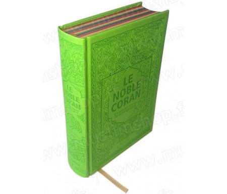 Le Noble Coran avec pages en couleur Arc-en-ciel (Rainbow) - Bilingue (français/arabe) - Couverture Daim de couleur vert clair