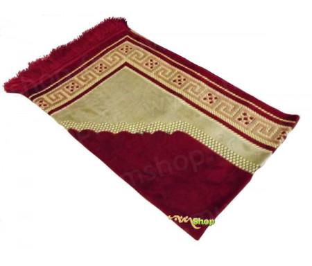Tapis de prière velours luxe - couleur rouge carmin