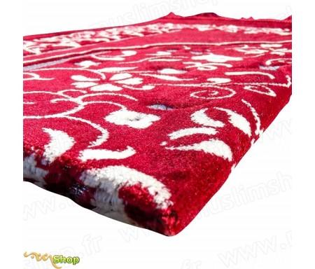 Tapis de prière en velours - Motif jardin - Fond rouge écarlate