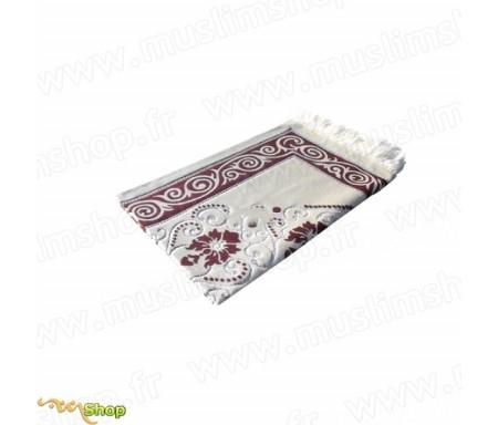 Tapis de Prière - Fond Sable - Motif fleurs - couleur Rose Saumon
