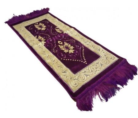 Tapis de Prière pour Enfant - Coloris Violet - Incrustation filaments argentés - Format 75x35cm
