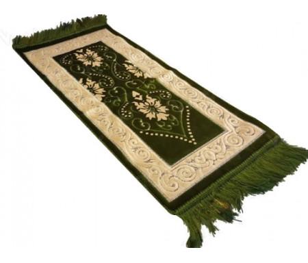 Tapis de Prière pour Enfant - Coloris Vert - Incrustation filaments argentés - Format 75x35cm