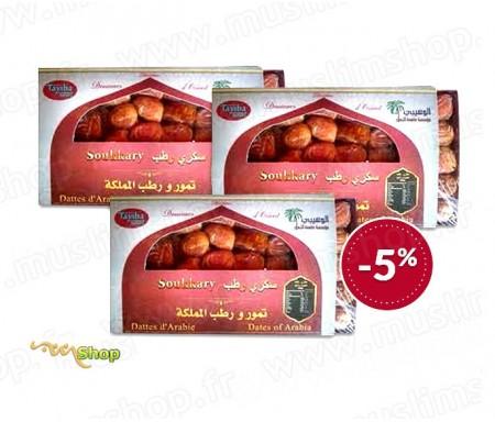 3 x Coffrets Dégustation Qualité supérieur Dattes sucrées d'Arabie Sokary / Sukary - 500gr