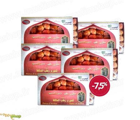 5 Coffrets Dégustation Qualité supérieur Dattes sucrées d'Arabie Sokary / Sukary - 500gr