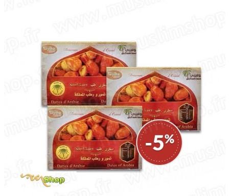 3 x Coffret Familial Qualité supérieur Dattes sucrées d'Arabie Sokary / Sukary - 3kg