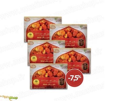 5 x Coffret Familial Qualité supérieur Dattes sucrées d'Arabie Sokary / Sukary - 3kg
