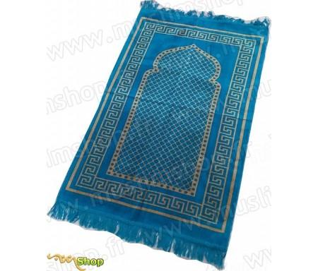 Tapis de prière Velours couleur bleu turquoise - motif losange