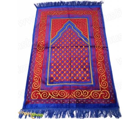 Tapis de prière Velours couleur Rouge et Bleu- Motif losange