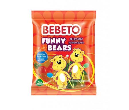 Bonbons Halal Bonbons Funny Bears (Oursons rigolos) - Fabriqué avec du vrai Jus de Fruit - Bebeto - Sachet 80gr