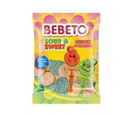 Bonbons Halal Sour & Sweet (Acidulé et Sucré) - Fabriqué avec du vrai Jus de Fruit - Bebeto - Sachet 80gr