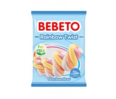Bonbons Halal Marshmallow Rainbow Twist (Mélange arc-en-ciel) Bebeto - Sans gras (sachet de 135g)