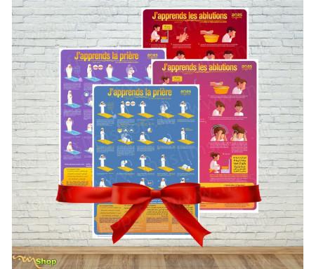 """Pack 4 Posters Fille et Garçon """"J'apprends à faire les ablutions et la prière"""""""
