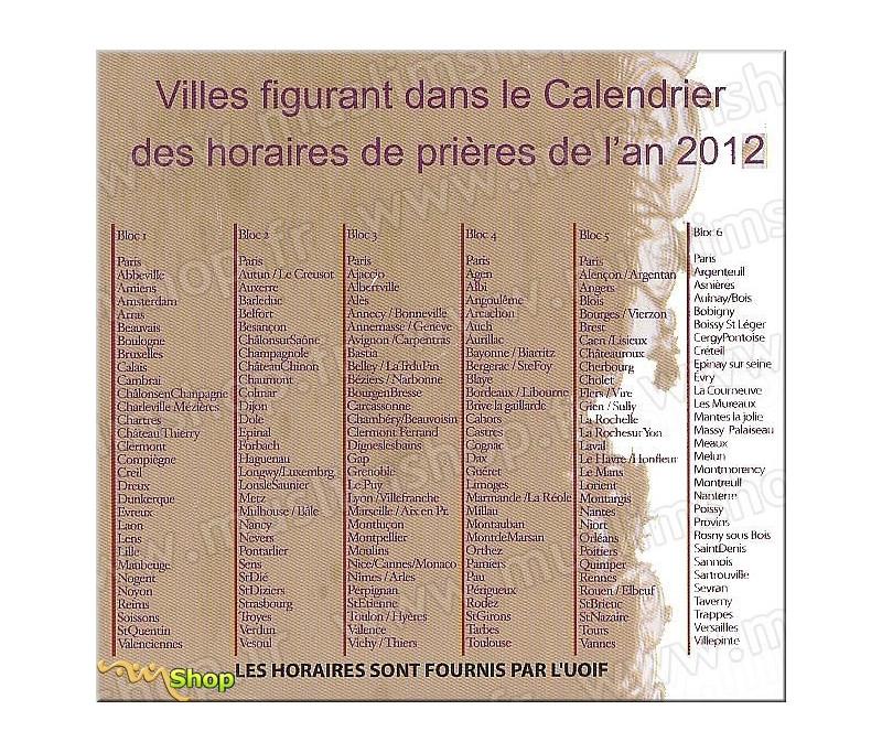 Calendrier de Prières UOIF 2020   Bloc 4 Sud Ouest : Bordeaux