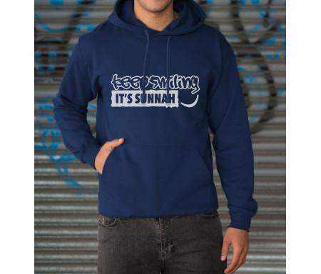 """Sweat à capuche Mixte Bleu """"Keep Smiling It's Sunnah"""" et poche Kangourou"""