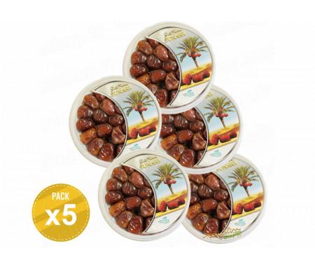 Pack de 5 Boîtes de Dattes Sukary / Sokary soit 2.5kg - 100% Dattes fraîches d'Arabie Saoudite