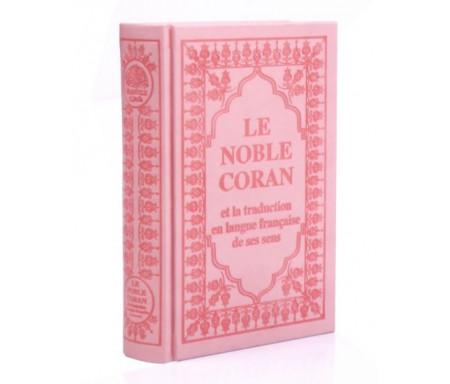 Le Noble Coran et la traduction en langue française de ses sens (bilingue français/arabe) - Edition de luxe couverture cartonnée en daim rose clair pour femmes