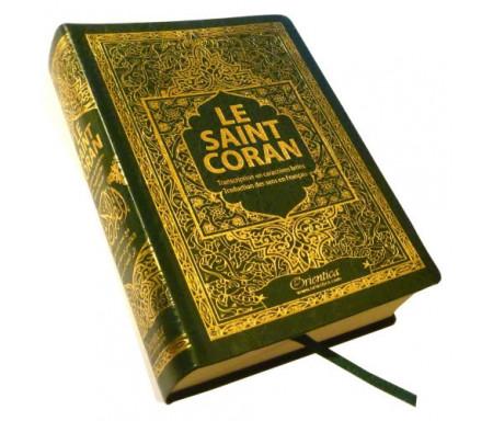 Le Saint Coran : arabe-français-phonétique - Transcription en caractères latins et traduction des sens en français - Format de poche - Couleur vert