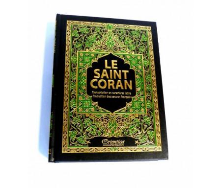 Le Saint Coran de couleur noire avec arabesques vertes bordées de dorures - arabe-français-phonétique - Transcription en caractères latins et traduction des sens en français