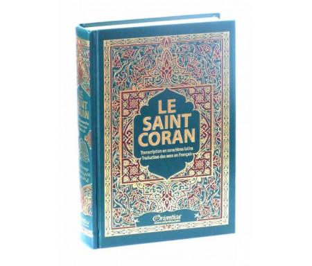 Le Saint Coran de couleur verte avec arabesques bordeaux bordées de dorures - arabe-français-phonétique - Transcription en caractères latins et traduction des sens en français