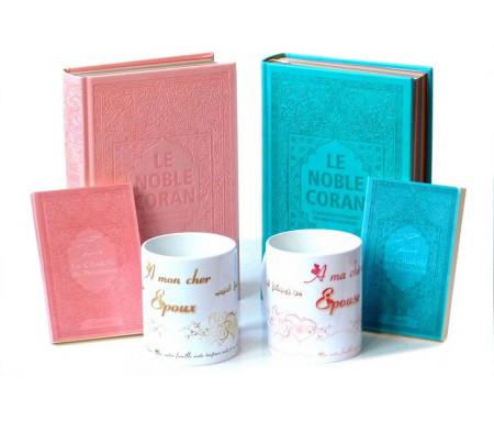 Coffret/Pack Cadeau Couple/Mariage (Rose/Bleu) : Le Noble Coran avec couleurs Arc-en-ciel (Rainbow), La Citadelle du Musulman et Deux mug assortis