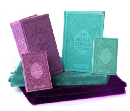 Coffret/Pack Cadeau Couple/Mariage : Le Saint Coran avec couleurs Arc-en-ciel, La Citadelle du Musulman et Tapis assorties