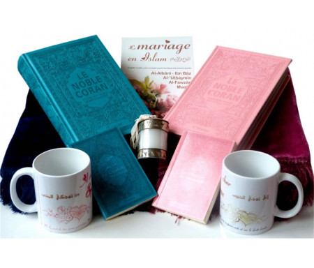 Coffret/Pack Cadeau Mariage : Le Noble Coran avec couleurs Arc-en-ciel, Citadelle du Musulman, Tapis en velours, Livre sur le mariage, Mug époux/épouse et une bougie