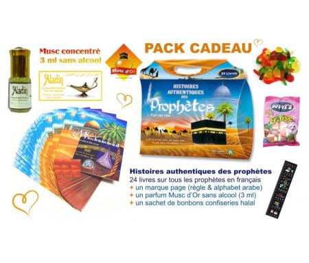 Pack Cadeau : Histoires authentiques des prophètes (24 livres) + Parfum Musc d'Or Aladin + Sachet bonbons confiseries Halal + Marque-page (Règle & alphabet arabe)