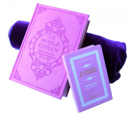 Pack cadeau : Le Noble Coran (bilingue français / arabe) mauve + La Citadelle Du Musulman mauve assortie + tapis de prière en velours
