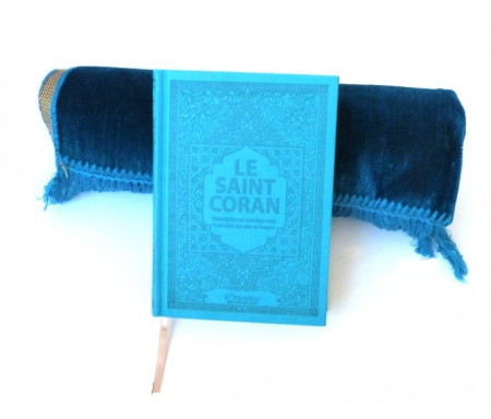 Pack cadeau : Le Saint Coran (arabe-français-phonétique) avec couverture daim de luxe (bleu) + Tapis unis en velours couleur bleu