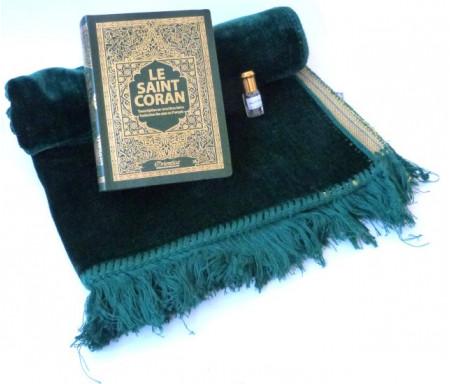 Pack Cadeau : Le Saint Coran (français-arabe-phonétique) vert + Tapis de prière en velours vert + Parfum musc mixte (3ml)