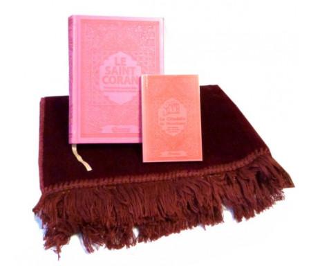 Pack cadeau : Le Saint Coran (français / arabe / phonétique) + La Citadelle du musulman (Hisnul Muslim) + Tapis de prière en velours