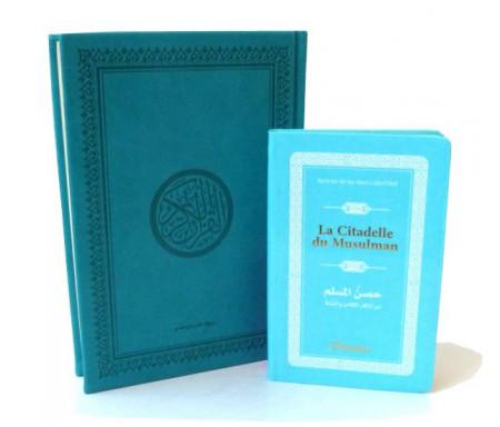 Pack cadeau : Le Saint Coran en arabe couverture daim de luxe (bleu) + La Citadelle du Musulman assortie