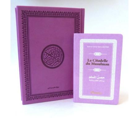 Pack cadeau : Le Saint Coran en arabe couverture daim de luxe (mauve) + La Citadelle du Musulman assortie