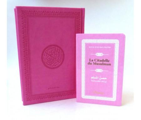 Pack cadeau : Le Saint Coran en arabe couverture daim de luxe (rose) + La Citadelle du Musulman assortie