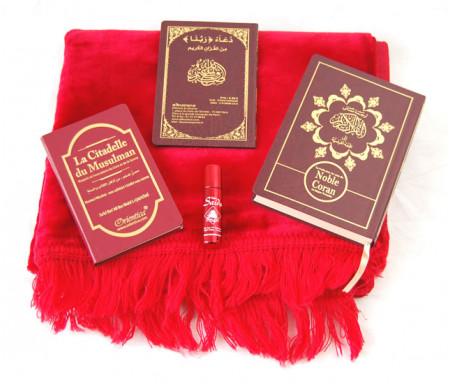 Pack Cadeau : Traduction du Saint Coran, La Citadelle du musulman, Les invocations Rabana, Tapis et Parfum Musc d'Or