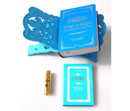 Pack Cadeau bleu (bilingue) : Riyad As-Salihîn, La Citadelle du musulman, Porte-Coran et parfum de luxe