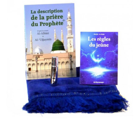 Pack Cadeau Bleu - Spécial Ramadan : Livres La description de la prière du Prophète & Les règles du jeûne, Tapis en velours et Parfum Musc N°1 (8 ml)