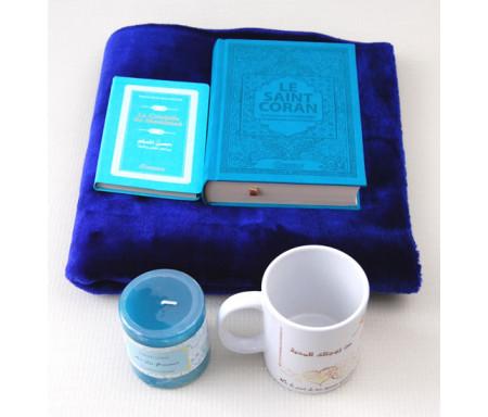 """Pack Cadeau Bleu : Coran Français - Phonétique, Citadelle du musulman, bougie parfumée, tapis et mug """"A mon cher époux"""""""