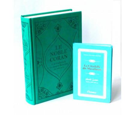 Pack cadeau bleu : Le Noble Coran (bilingue français/arabe) + La Citadelle du Musulman (bleu)