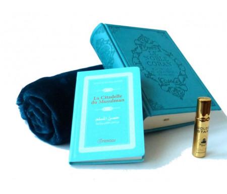Pack cadeau bleu : Le Noble Coran (bilingue français-arabe) + La Citadelle du Musulman + Tapis de prière en velours + Parfum Musc d'Or au choix (homme / femme)