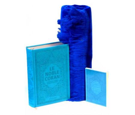 Pack Cadeau Bleu : Le Noble Coran Rainbow (Arc-en-ciel) Bilingue français/arabe, La Citadelle du Musulman et Tapis en velours assorti