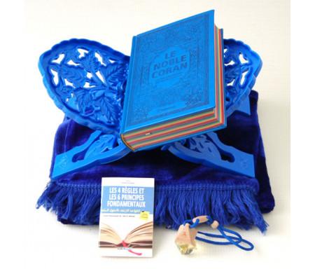 """Pack Cadeau Bleu : Le Noble Coran Rainbow (Arc-en-ciel) Bilingue français/arabe, Livre """"Les 4 Règles"""", Porte Coran, Tapis, Diffuseur de parfum"""
