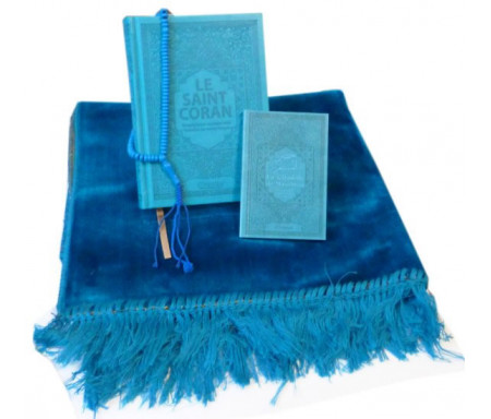 Pack cadeau Bleu : Le Saint Coran + La Citadelle du musulman (français / arabe / phonétique) + Tapis de prière en velours + Chapelet