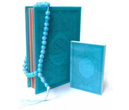Pack Cadeau Bleu : Le Saint Coran Rainbow Bilingue (aux couleurs Arc-en-ciel) + La Citadelle du Musulman (français/arabe/phonétique) + Chapelet assorti
