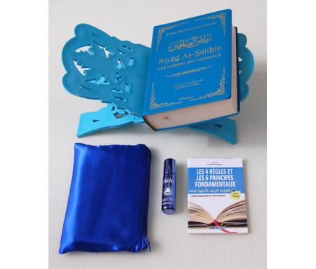 Pack Cadeau Bleu : Livres Le jardin des vertueux, Les 4 Règles et Les 6 Principes Fondamentaux, Porte-Livre, Tapis de poche et Parfum de luxe