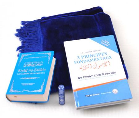 Pack Cadeau Bleu : Riyâd es-Sâlihîne + Commentaire des 3 principes + Tapis + Parfum de luxe