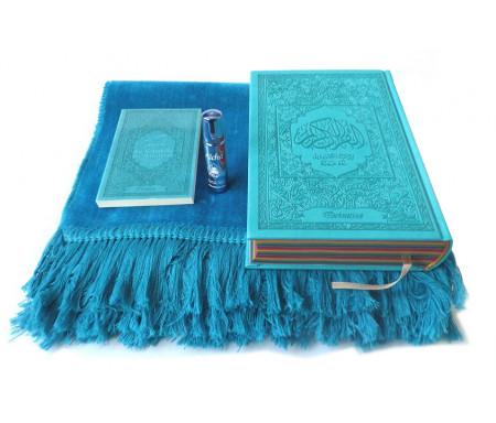 """Pack Cadeau bleu assorti : Le Noble Coran Arc-en-ciel (Rainbow français-arabe) avec tapis uni et parfum Musc d'Or de luxe """"Aicha"""""""