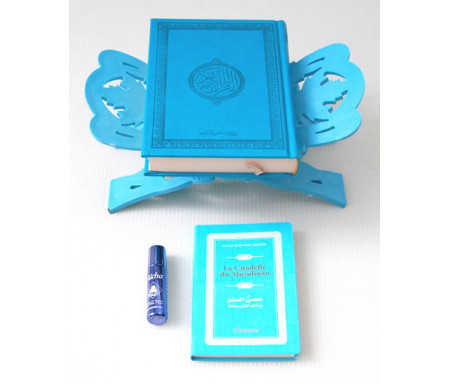 Pack Cadeau bleu clair : Coran de luxe arabe, La Citadelle du musulman, Porte-Coran et parfum Musc d'Or