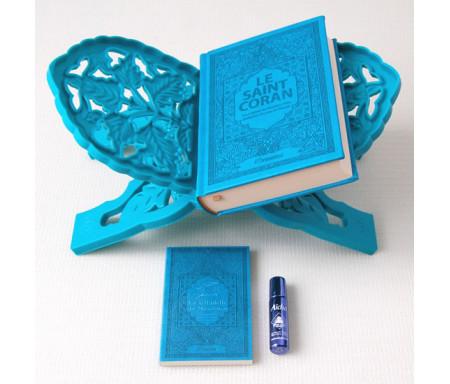 """Pack Cadeau Bleu pour Femme : Coran français-arabe-phonétique, La Citadelle du musulman, Porte-Coran et parfum """"Aïcha"""""""